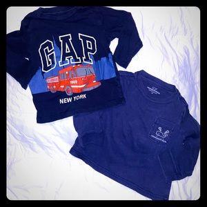 BUNDLE of 2 Boys L/S shirts Vineyard Vines/Gap, 2T